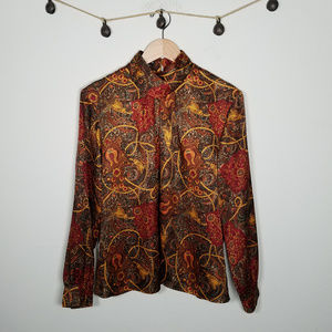 Vintage 80's Notations Red Gold Novelty Blouse XL
